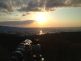 The setting sun is shot.