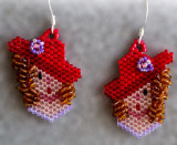 Girl with Red Hat Earrings - 3D curls