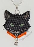 Black Cat Orange collar and crystal rhinestone dangle - Sold