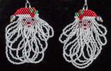 Santa - Fringe Beard Earrings -Sold