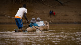 Rowing across the Omo River