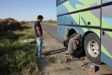 From Aral Sea to Nukus, a flat tire