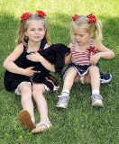 PRESLEY AND TEAGAN WITH OZZIE THE DOG