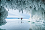 Ice cave hikers