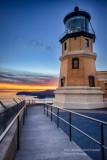 Split Rock lighthouse, sunset colors