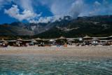 Drymades Beach with Ceraunian Mountains 2044m behind, Dhërmi