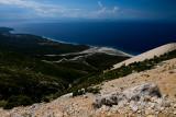 Dhërmi Bay from above, far behind Corfu Island