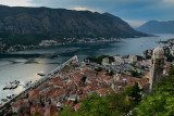 Old Town from above with Bay of Kotor behind, Kotor