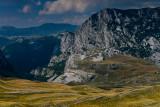 Dobri Do 1700m with Lojanik lower summit 2032m and Kljestina Gorge on the left, Durmitor NP