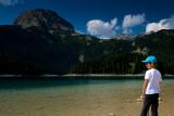Alex at Black Lake (Crno Jezero) 1416m, Mali Meded 2223m behind, Durmitor NP