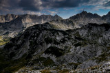 Terzin Bogaz 2303m, on the right Minin Bogaz 2387m, far behind Sljeme 2455m, a view point near Ledena Pecina 2160m, Durmitor NP