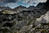 Minin Bogaz 2387m, Lucin Vrh 2396m and on the right Bobotov Kuk 2523m, a view point near Ledena Pecina 2160m, Durmitor NP