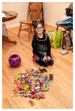 Norah and her pile of candy