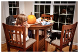 Linus supervising the pumpkin carving