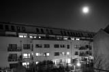 Urban Dusk With The Moon