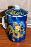 Yellow Dragon On Blue Mug