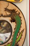 Green Dragon At The Mirror