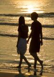 romantic beach stroll