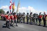 Colour party marches past Les Voltigeurs canadiens