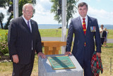 New Brunswick's MLA Brian Macdonald with local American representative at the 104th Regiment of Foot monument
