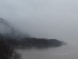 Looking straight at the Ohio River shrouded in Fog.
