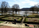 Flood Waters covering the front Lawn and Gardens.
