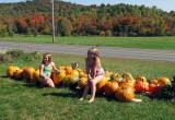 Little Girls Washing Pumpkins