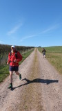 Ann  climbing  Almagill  Hill , 217m.