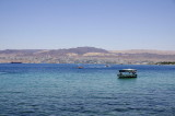 the water across the Gulf of Aqaba is especially blue today