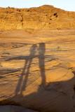 near sundown, shadows stretch