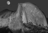 Moon over half dome 45 year Anniversary B-W.jpg