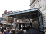 Tribute acts outside Swansea station