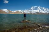 Richard with Muztagh Ata and Karakul Lake, Xinjiang, China