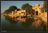 Sunrise on Gadi Sar. Jaisalmer.