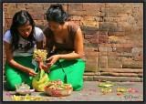 Two Sisters Preparing Offerings. Tampaksiring.