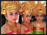 Three Young Legong Dancers backstage.