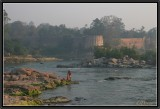 Orchha. Morning Light on River Betwa and Old Citadel.