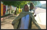Pilgrims in a Khajuraho Temple's yard.