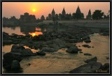 Orchha. Sunset on Cenotaphs and Betwa River.