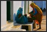 Selling Vegetables from Door to Door. Khajuraho Village.