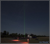 Laser light points to star Vega as park staff offer lunar and star programs free to public.