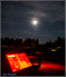 Dimly lighted pathway, signage & a moon at 50%.