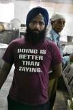 Sikh Temple - His shirt spells Sikh Devotion