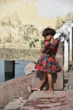 flower girl at ganga