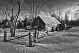 Rustic Building At Sunrise 42884 B&W
