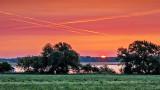 Crossed Contrails At Sunrise 20140809