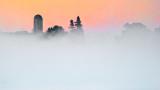 Silo & Trees Above Sunrise Fog 20140908