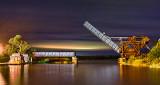 Scherzer Rolling Lift Bridge At Night 46059-62