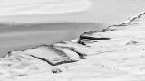 Snowy Shoreline Rocks P1250197-9bw