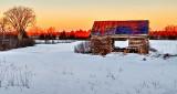 Drive-thru Old Log Barn At Sunrise P1180231-3